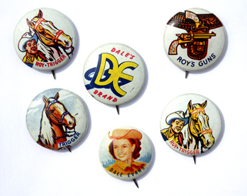 Some of the pins available in cereal boxes in 1953